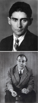 Franz Kafka (arriba) y Jorge Luis Borges